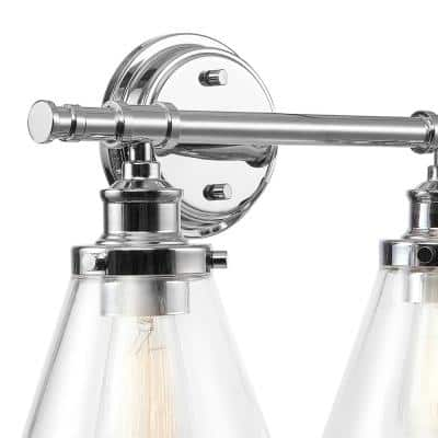 Parker 2-Light Chrome Vanity Light with Clear Glass Shades