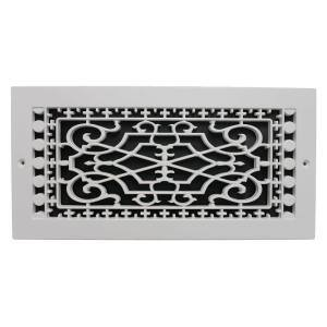 Victorian Wall Mount 14 in. x 6 in. Opening, 8 in. x 16 in. Overall Size, Polymer Decorative Return Air Grille, White