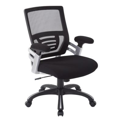 Black Faux Leather Manager's Chair with Mesh and Adjustable Arms