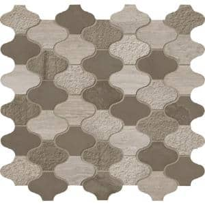 Arctic Storm Arabesque 12 in. x 12.6 in. x 10mm Multi Finish Marble Mesh-Mounted Mosaic Tile (10.5 sq. ft./case)