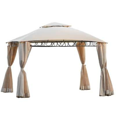 Belle 10.6 ft. x 10.6 ft. Beige Outdoor BBQ Gazebo Tent with UV Protection Double Tiered Grill Canopy