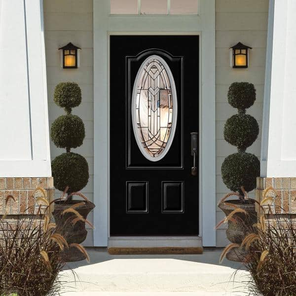 Masonite 36 In X 80 In Chatham 3 4 Oval Lite Left Hand Inswing Painted Steel Prehung Front Exterior Door With Brickmold 22518 The Home Depot