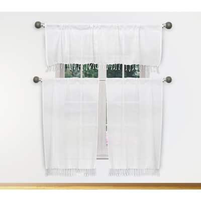 Savi White-White Kitchen Curtain in 58 in. W x 15 in. L (3-Piece)