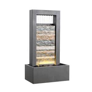 Centry Warm Gray with Cream Slate Tabletop Fountain