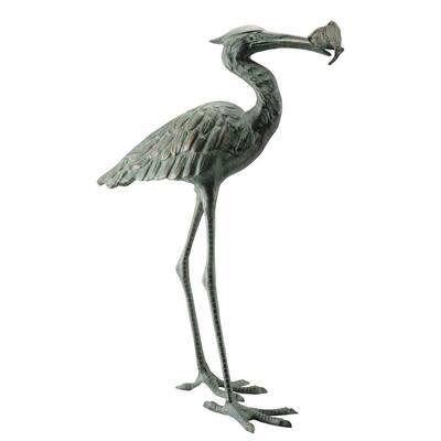 Garden Single Crane Eating Fish Garden Statue