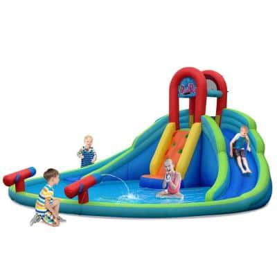 Multi-Color Inflatable Bounce House Kids Water Splash Pool Dual Slides Climbing Wall