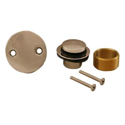 Toe Touch Bath Tub Drain Conversion Kit with 2-Hole Overflow Plate in Polished Stainless