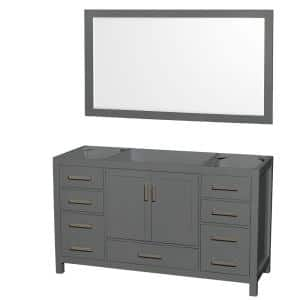 Sheffield 59 in. W x 21.5 in. D Vanity Cabinet Only with Mirror in Dark Gray