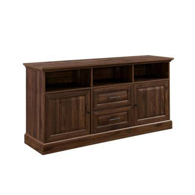 Dark Walnut Wood Transitional Hutch Shelf with 2-Beveled Doors