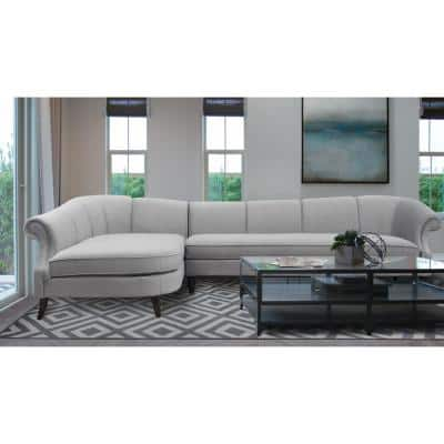 Victoria 2-Piece Opal Gray Channel Tufted-Velvet L-Shaped Left Facing Sectional Sofa with Wood Legs