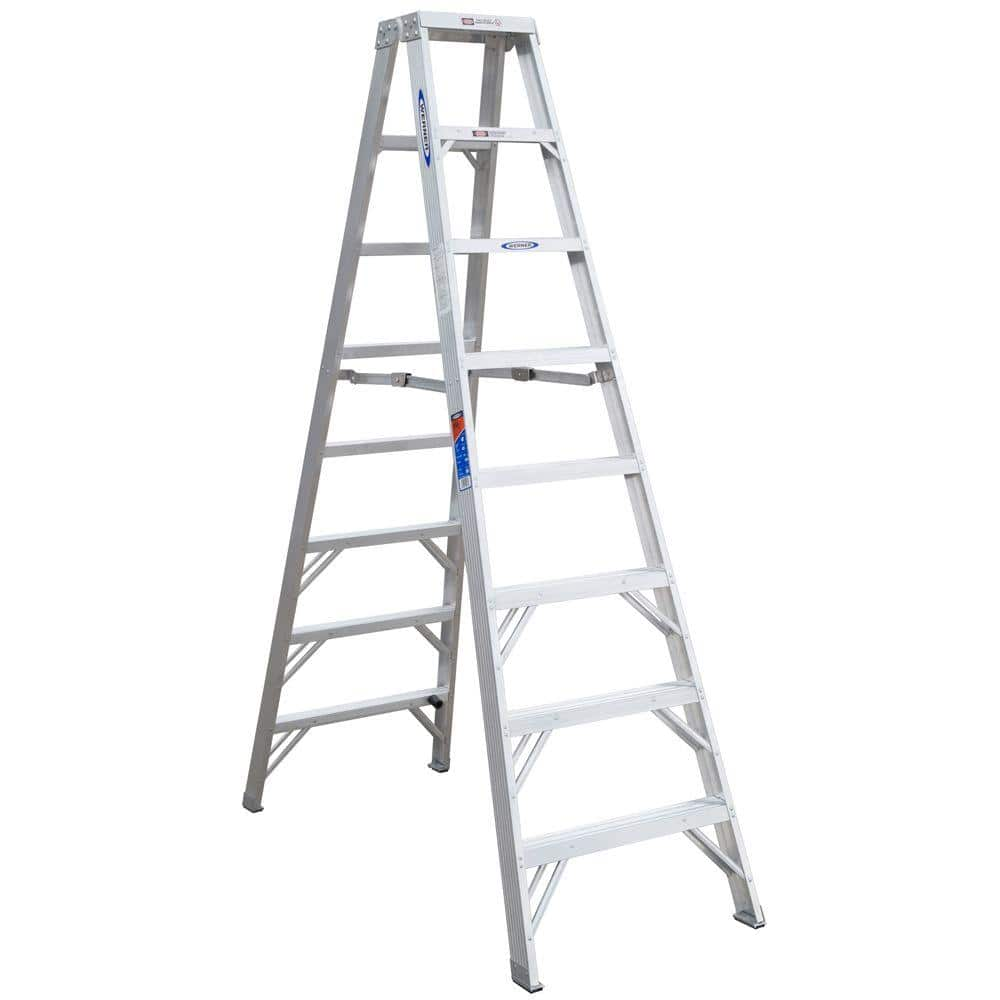 Werner 8 Ft Aluminum Twin Step Ladder With 300 Lb Load Capacity Type Ia Duty Rating T378 The Home Depot