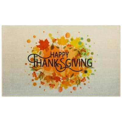 Thanksgiving Leaves Spice 2 ft. 6 in. x 4 ft. 2 in. Holiday Area Rug