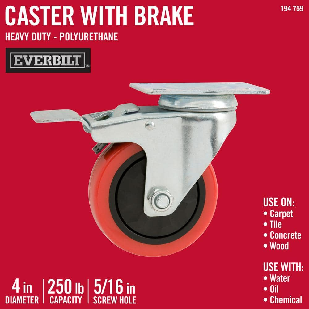 Black 4-Pack Commercial 2-Inch Top Plate PU Swivel Caster with Brake
