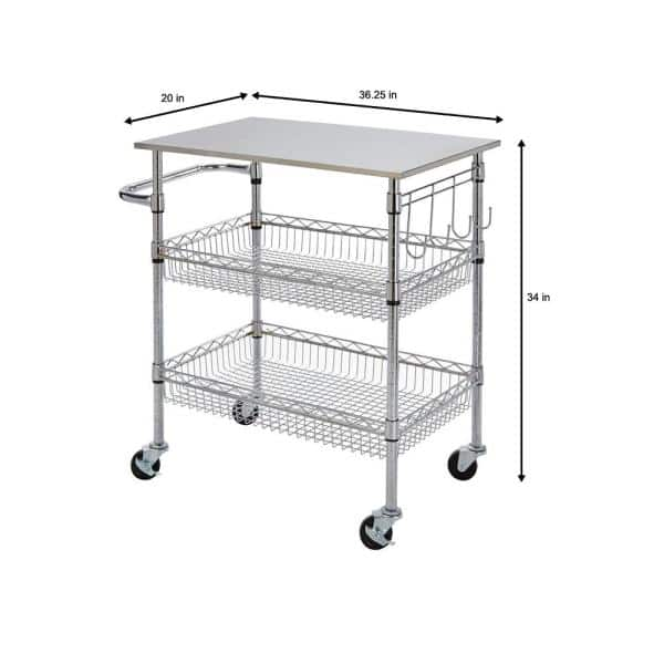 Stylewell Gatefield Chrome Kitchen Cart With Stainless Top H17110706 The Home Depot