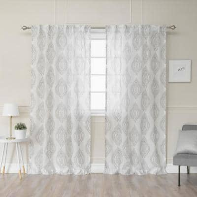 Grey Medallion Faux Linen Back Tab Sheer Curtain - 52 in. W x 84 in. L (Set of 2)