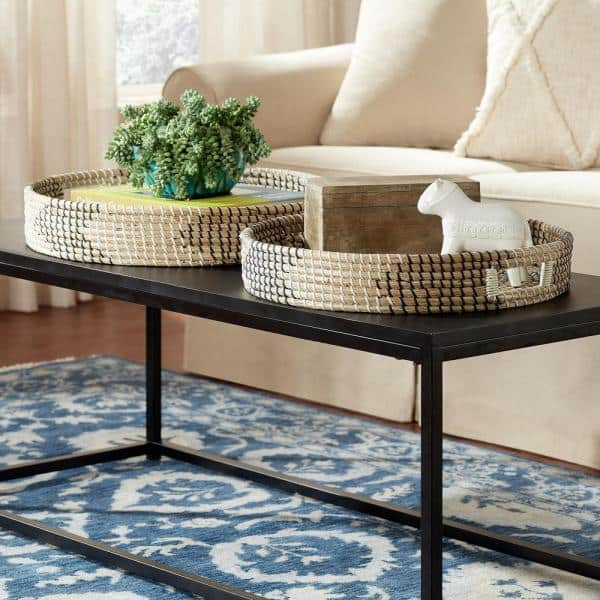 Home Decorators Collection Black White, Coffee Table Tray Round White