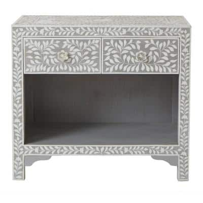 Dhara Bone 2-Drawer Pantone Grey Nightstand