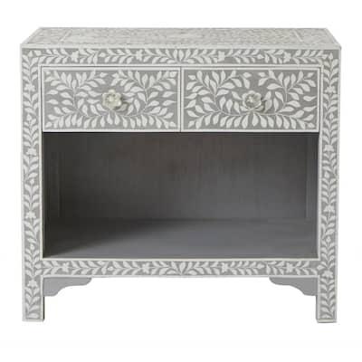 Dhara Bone 2-Drawer Pantone Grey Nightstand
