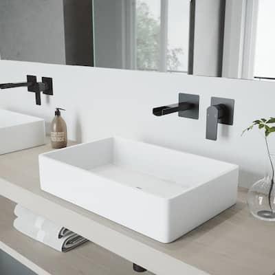 Atticus Single-Handle Wall Mount Bathroom Faucet in Matte Black