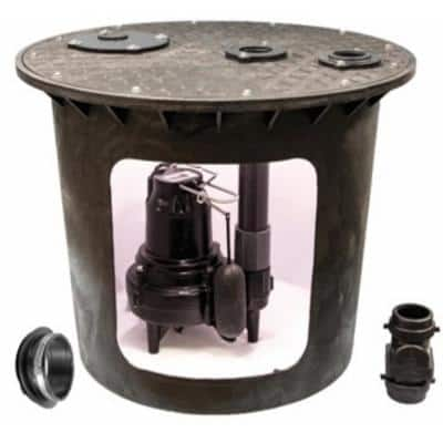 24 in. x 24 in. 1/2 HP Submersible Sewage Ejector System