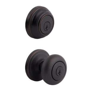 Juno Venetian Bronze Exterior Entry Door Knob and Single Cylinder Deadbolt Combo Pack Featuring SmartKey Security