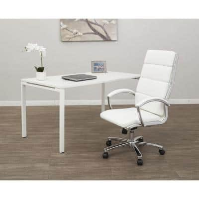 White Faux Leather High Back Executive Office Chair