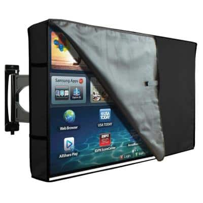 46 in. to 48 in. Black Outdoor TV Cover with Clear Front Universal Weatherproof Protector