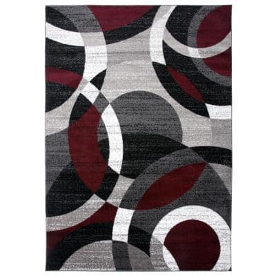 Modern Abstract Circles Red 5 ft. 3 in. x 7 ft. 3 in. Indoor Area Rug