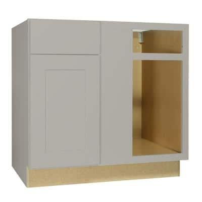 Shaker Assembled 36x34.5x24 in. Blind Base Corner Kitchen Cabinet in Dove Gray