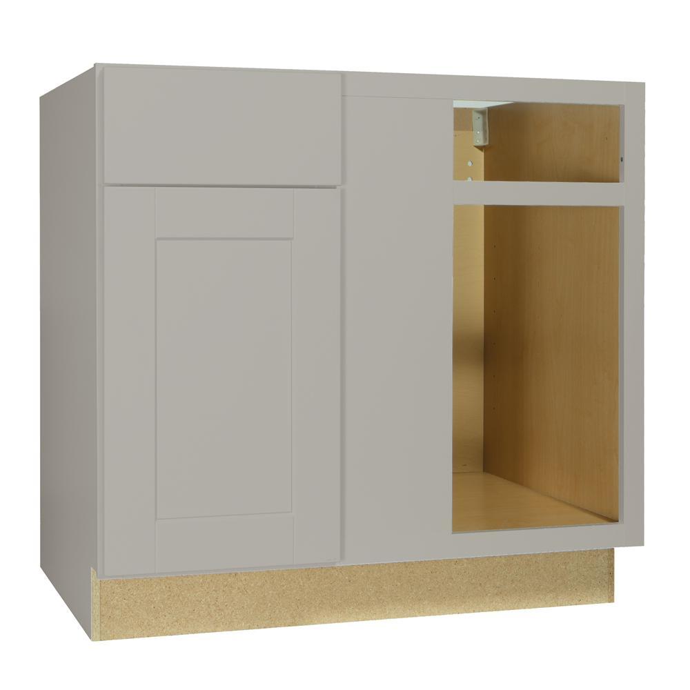 Shaker Dove Gray Stock Assembled Blind Base Corner Kitchen Cabinet (36 in. x 34.5 in. x 24 in.)