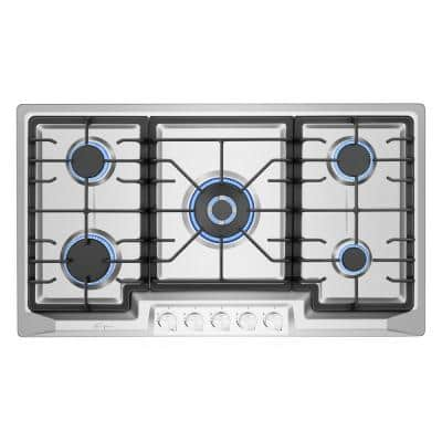 36 in. Gas Stove Cooktop in Stainless Steel with 5 Italy Sabaf Burners