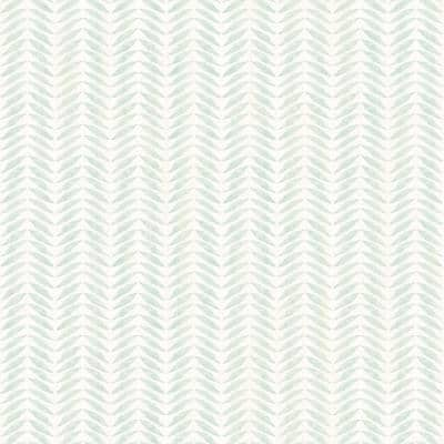 Espalier Teal Chevron Stripe Paper Strippable Roll (Covers 56.4 sq. ft.)