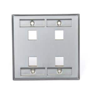 Stainless Look 2-Gang Audio/Video Wall Plate (1-Pack)