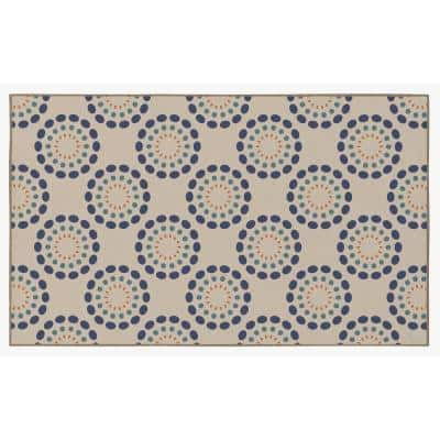 Multicolor Circle Spring Burst Pattern, 3 ft. x 5 ft. Extra Small Modern Living Room Area Rug with Nonslip Backing