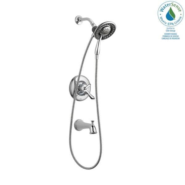 Delta Linden In2ition 1 Handle Tub And Shower Faucet Trim Kit In Chrome Valve Not Included T17494 I The Home Depot