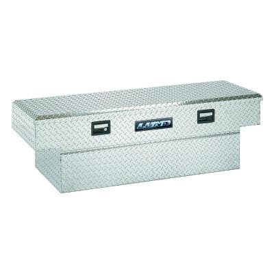 60 in Diamond Plate Aluminum Flush Mount Full Size Crossbed Truck Tool Box with mounting hardware and keys, Silver