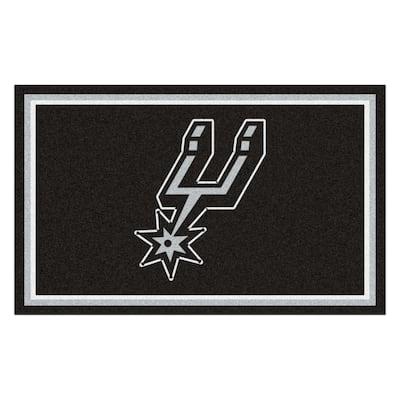 NBA - San Antonio Spurs Black 4 ft. x 6 ft. Area Rug