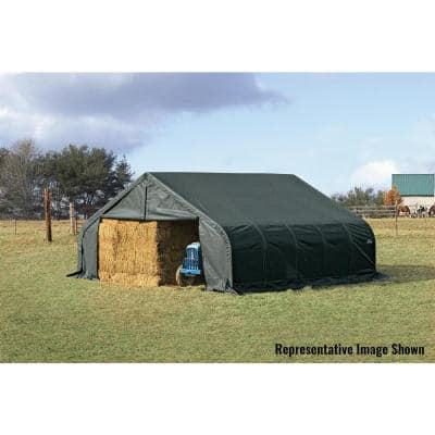 22 ft. W x 24 ft. D x 13 ft. H Green Steel and Polyethylene Garage Without Floorw/ Corrosion-Resistant Steel Frame
