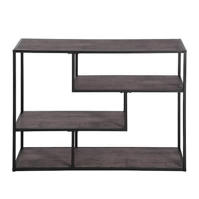 Open Back Bookcase 29.5 in. Brown Wood 4 -Shelf Ladder Storage Bookcase