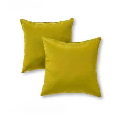 Solid Kiwi Green Square Outdoor Throw Pillow (2-Pack)