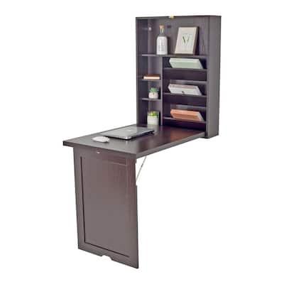 24 in. Walnut Retangular Wood Computer Desk with 2 Adjustable Shelves