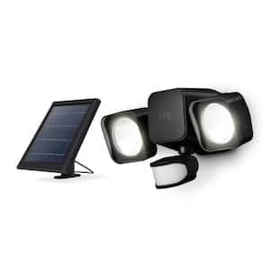 Smart Lighting Black Motion Activated Solar Outdoor Integrated LED Flood Light