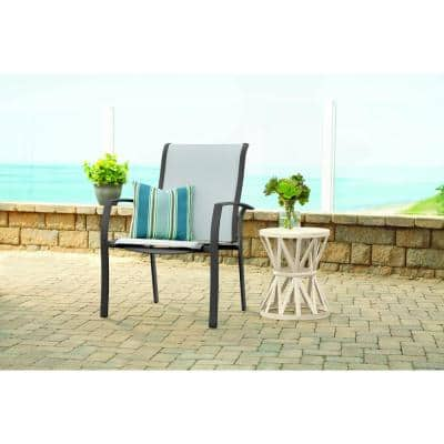 Stationary Commercial Grade Aluminum Oversized Outdoor Patio Dining Chair in Sunbrella Augustine Alloy (2-Pack)