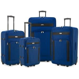 Cedar 4-Piece Blue Softside Lightweight Rolling Luggage Set