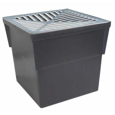 14 in. x 14 in. Storm Water Pit and Catch Basin for Modular Trench and Channel Drain Systems with Aluminum Grate