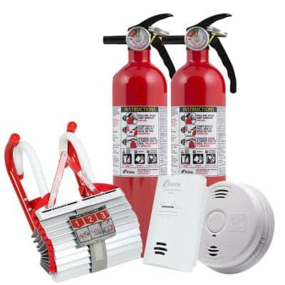 2-Story Fire Safety Kit, 3-Pack Smoke Detector, 2-Pack CO Detector, Fire Escape Ladder & 2-Pack Fire Extinguisher