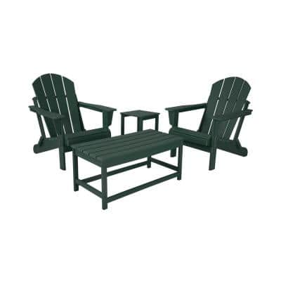 Jay Dark Green 4-Pieces Outdoor Poly Adirondack Conversation Lounge Set