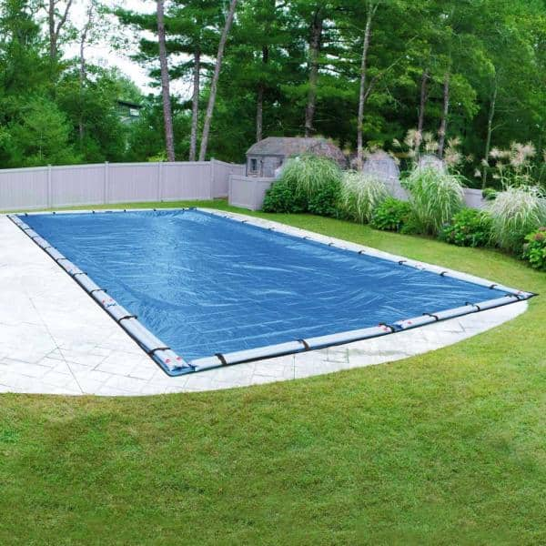 Pool Mate Econo Mesh 25 Ft X 50 Ft Rectangular Blue Mesh In Ground Winter Pool Cover 542550r The Home Depot