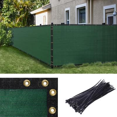 4 ft. H x 50 ft. W Green Fence Outdoor Privacy Screen with Black Edge Bindings and Grommets