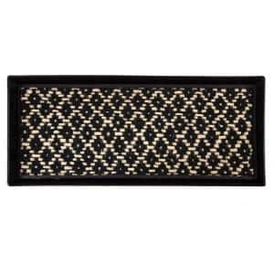 34.5 in. x 14 in. x 1.5 in. Black Metal Boot Tray with Black & Ivory Coir Insert